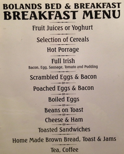 Bolands Breakfast Menu