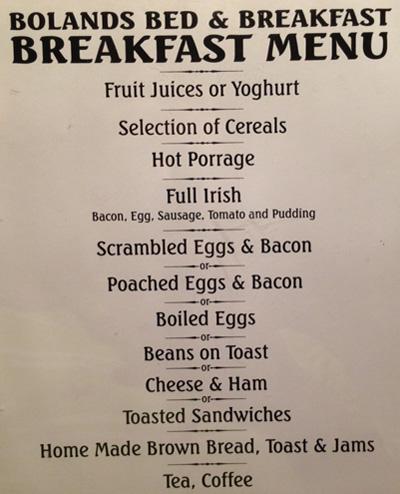 Bolands Breakfast Menu